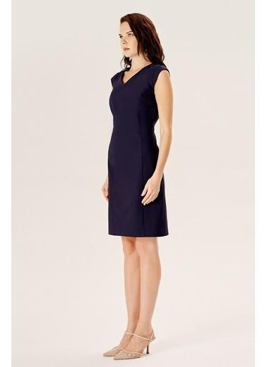 NaraMaxx Klasik Kesim Kuplu Elbise Lacivert